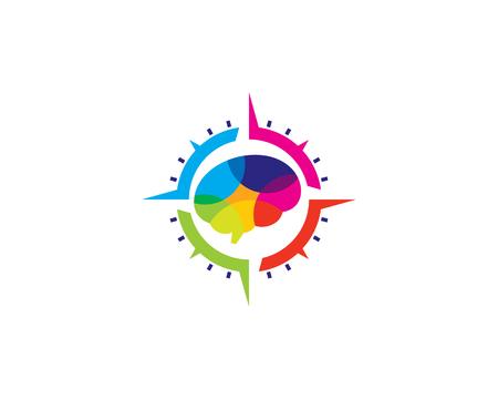 Compass Brain Logo Icon Design Archivio Fotografico - 100971727