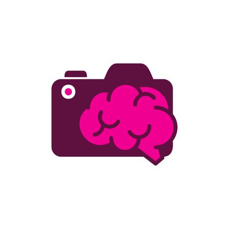 Camera Brain Logo Icon Design Illustration