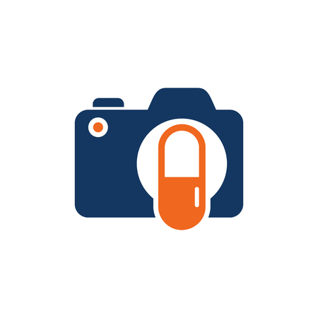 Medicine Camera Logo Icon Design Çizim