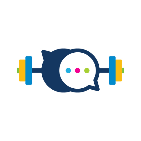 Barbell Chat Logo Icon Design
