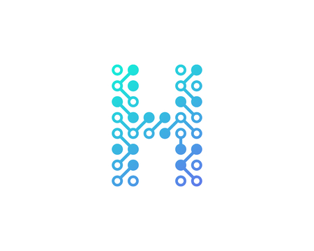 H Circuit Digital Letter And Number Logo Icon Design Illustration