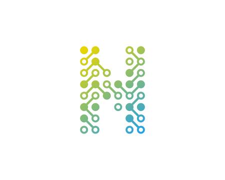 N Circuit Digital Letter And Number Logo Icon Design Illustration