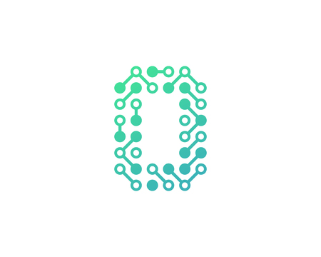 O Circuit Digital Letter And Number Logo Icon Design