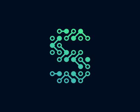 S Circuit Digital Letter Logo Icon Design