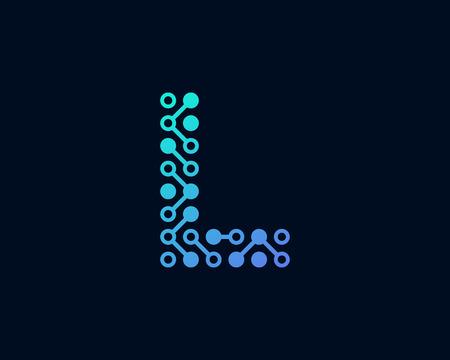 L Circuit Digital Letter Logo Icon Design