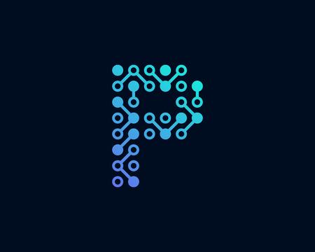 P Circuit Digital Letter Logo Icon Design Standard-Bild - 100992326