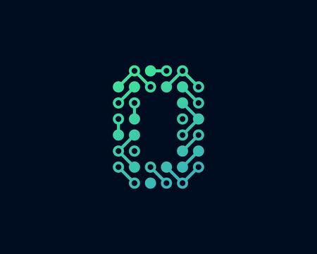 O Circuit Digital Letter Logo Icon Design Ilustração