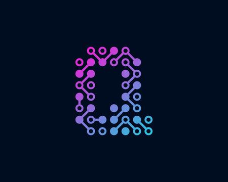 Q Circuit Digital Letter Logo Icon Design Illustration