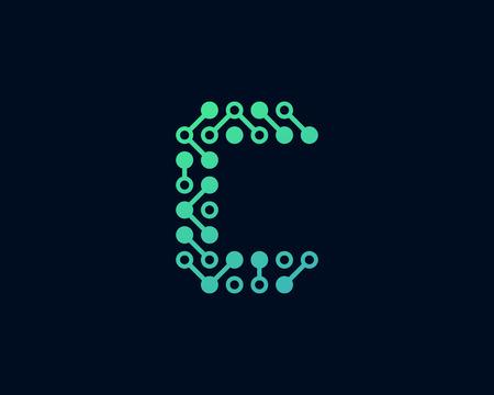 C Circuit Digital Letter Logo Icon Design