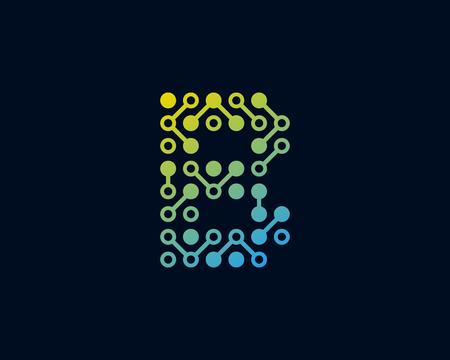 B Circuit Digital Letter Logo Icon Design Illustration