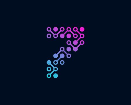 7 Circuit Digital Number Logo Icon Design Ilustração