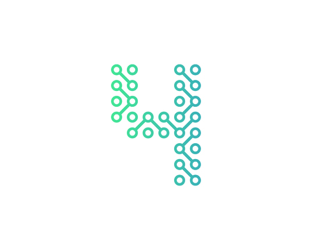 4 Circuit Technology Letter And Number Logo Icon Design