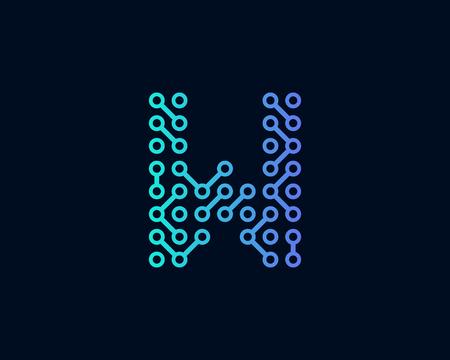 W Circuit Technology Letter Icon Design illustration.
