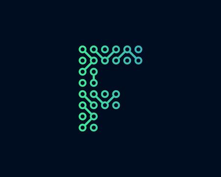 F Circuit Technology Letter Icon Design illustration.
