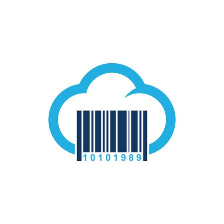 Barcode Cloud Logo Icon Design