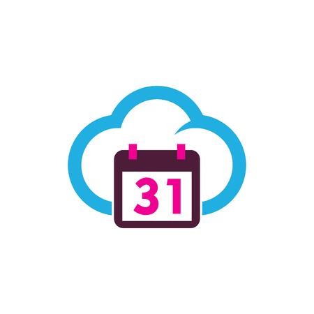 Date Cloud Logo Icon Design Illustration