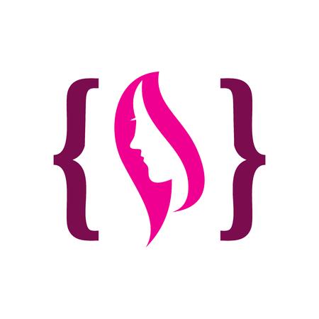 Beauty Code Logo Icon Design Illustration