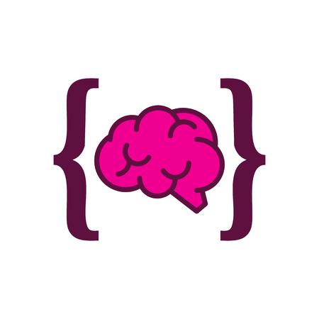 Brain Code Logo Icon Design Illustration