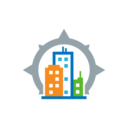 Town Compass Logo Icon Design Stock Illustratie