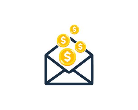 Mail Coin Icon Logo Design