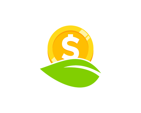 Natural Coin Icon Logo Design Illustration