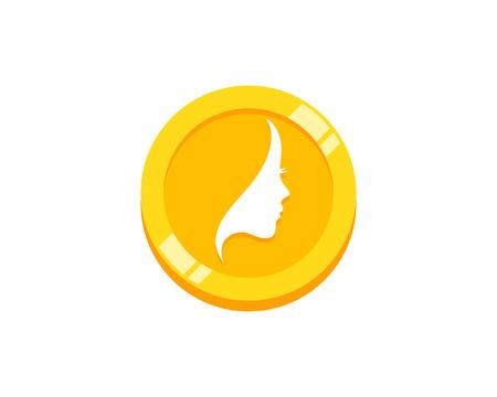 Beauty Coin Icon Logo Design