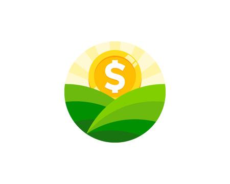 Landscape Coin Icon Logo Design Illustration