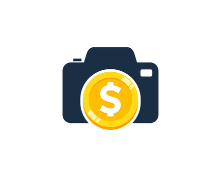 Photography Coin Icon Logo Design Element Vettoriali