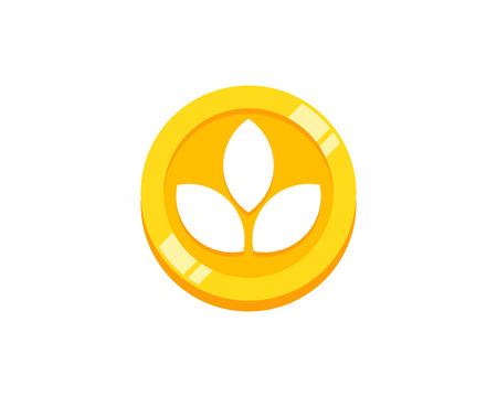 Nature Coin Icon Logo Design Element