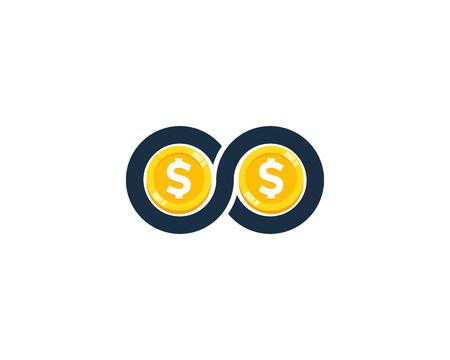 Infinity Coin Icon Logo Design Element Vettoriali
