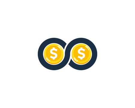 Infinity Coin Icon Logo Design Element 向量圖像