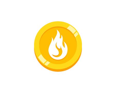 Fire Coin Icon Logo Design Element