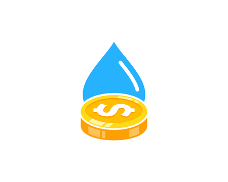 Water Coin Icon Logo Design Element