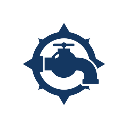 Plumbing Compass Logo Icon Design 向量圖像