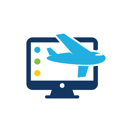 Travel Computer Logo Icon Design 矢量图像