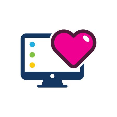 Love Computer Logo Icon Design