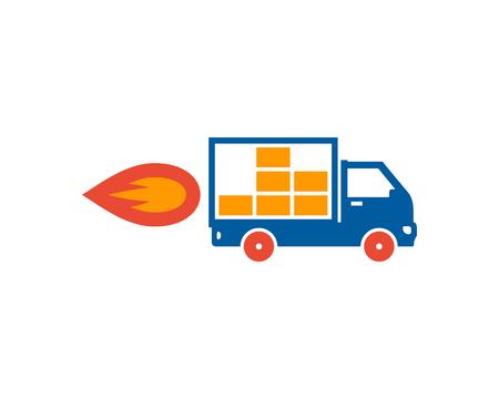 Flame Delivery Logo Icon Design Vettoriali