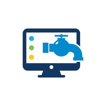 Plumbing Computer Logo Icon Design Illustration