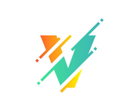 V Digital Letter Pixel Logo Icon Design