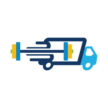 Barbell Delivery Logo Icon Design