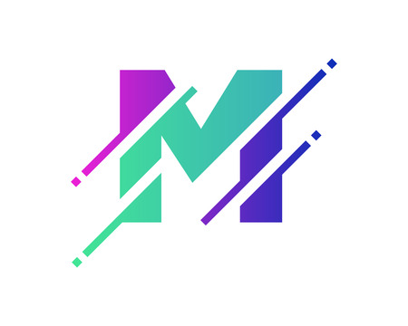 M Digital Letter Pixel Logo Icon Design