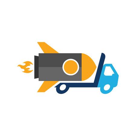 Rocket Delivery Logo Icon Design Vettoriali