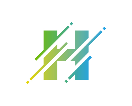H Digital Letter Pixel Logo Icon Design  イラスト・ベクター素材