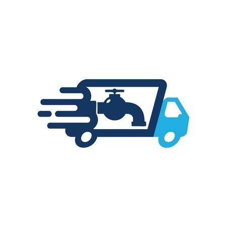 Plumbing Delivery Logo Icon Design Illustration