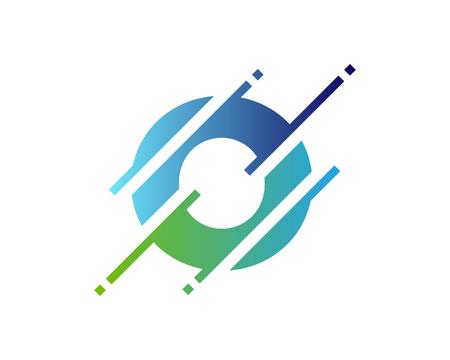 Création d'icône de logo pixel lettre O numérique