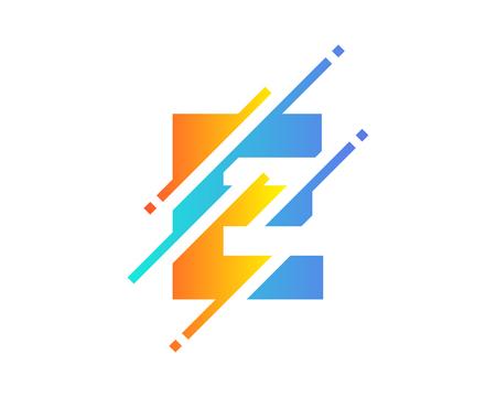 E Digital Letter Pixel Logo Icon Design