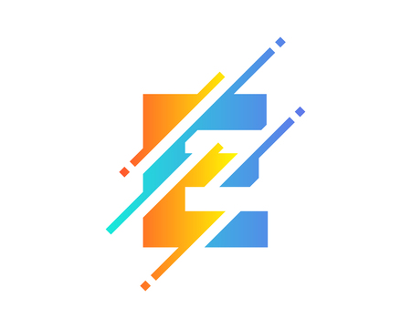 E Digital Letter Pixel Logo Icon Design
