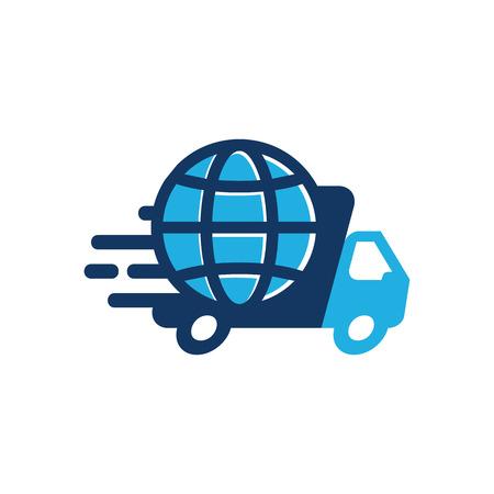 Globe Delivery Logo Icon Design  イラスト・ベクター素材