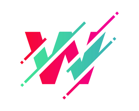 W Digital Letter Pixel Logo Icon Design