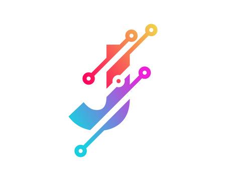 J Digital Letter Technology Logo Icon Design